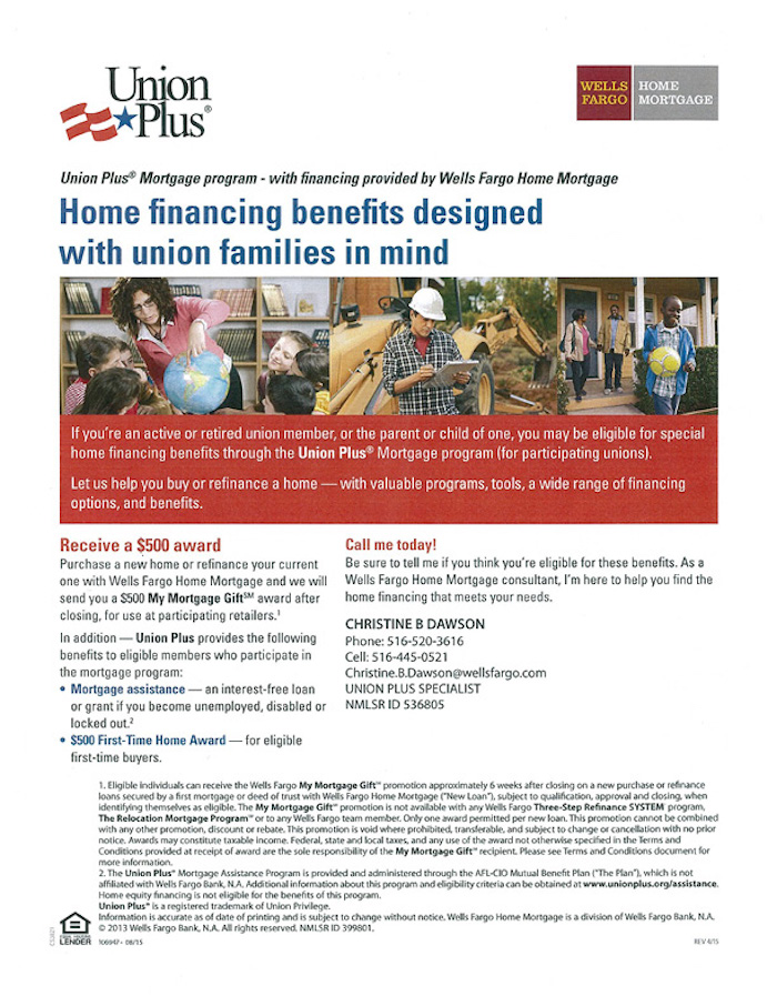Union Plus mortgage program benefit for members